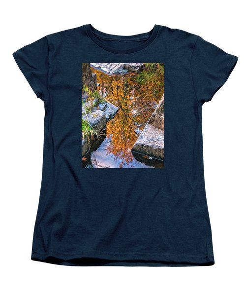 Women's T-Shirt (Standard Cut) featuring the photograph Eau Claire Dells Fall Reflection by Trey Foerster