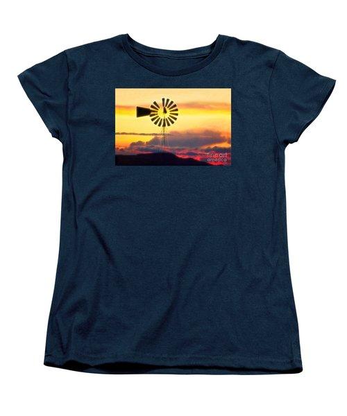 Eclipse Windmill In The Sunset Clouds Women's T-Shirt (Standard Cut) by Wernher Krutein