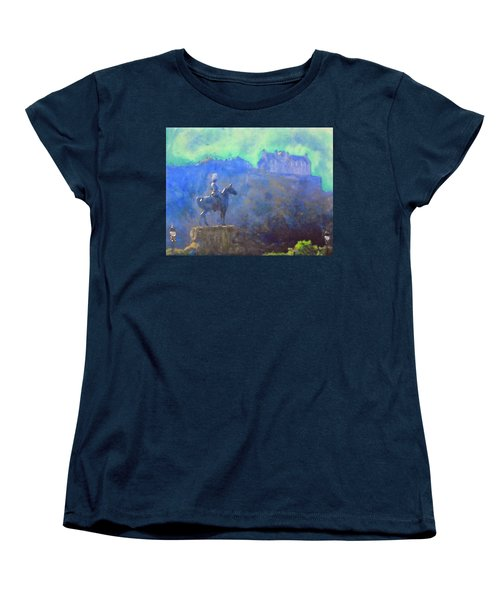 Edinburgh Castle Horse Statue Women's T-Shirt (Standard Cut) by Richard James Digance