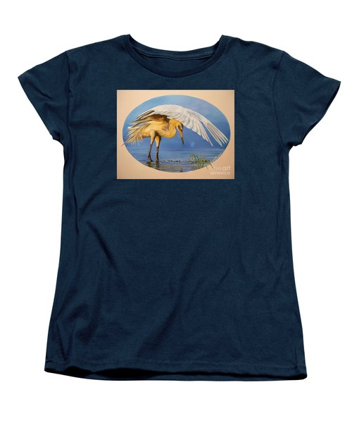 Women's T-Shirt (Standard Cut) featuring the painting Egret Fishing by Sigrid Tune