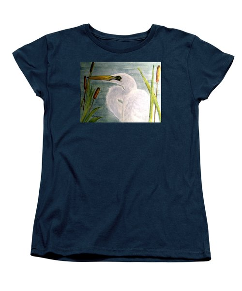 Women's T-Shirt (Standard Cut) featuring the painting Egret In The Cattails by Carol Grimes