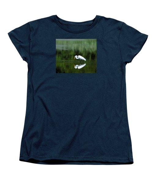 Egret Reflection Women's T-Shirt (Standard Cut) by Kathy Eickenberg