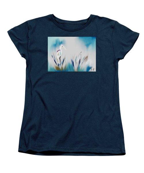 Egret Splash Women's T-Shirt (Standard Cut) by Frank Bright