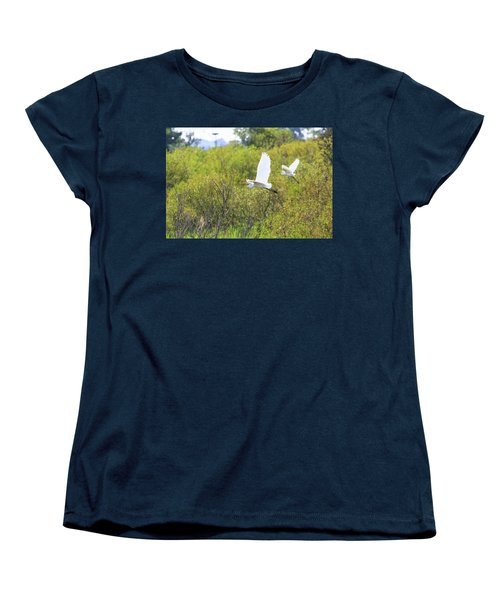 Women's T-Shirt (Standard Cut) featuring the photograph Egrets In Flight by Jennifer Casey