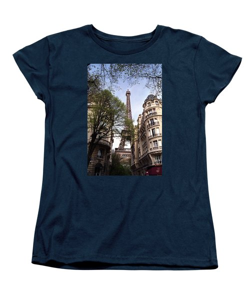 Women's T-Shirt (Standard Cut) featuring the photograph Eiffel Tower 2b by Andrew Fare
