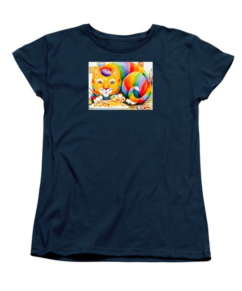 Women's T-Shirt (Standard Cut) featuring the drawing el Gato Artisto by Dee Davis