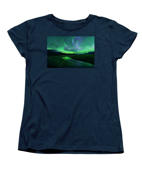 Electric Skies Over Jasper National Park Women's T-Shirt (Standard Cut) by Dan Jurak