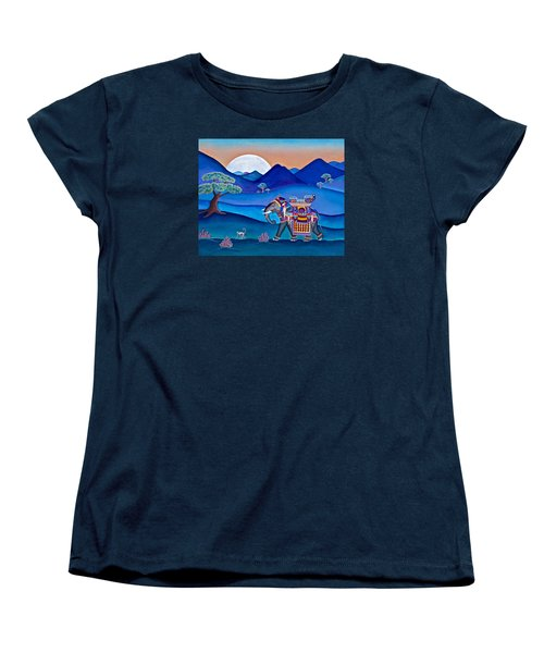 Women's T-Shirt (Standard Cut) featuring the painting Elephant And Monkey Stroll by Lori Miller
