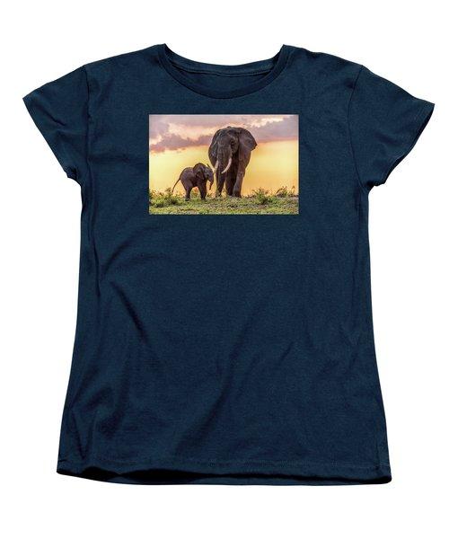 Elephants At Sunset Women's T-Shirt (Standard Cut) by Janis Knight