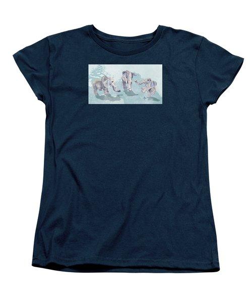 Elephants In Blue Women's T-Shirt (Standard Cut) by Angeles M Pomata