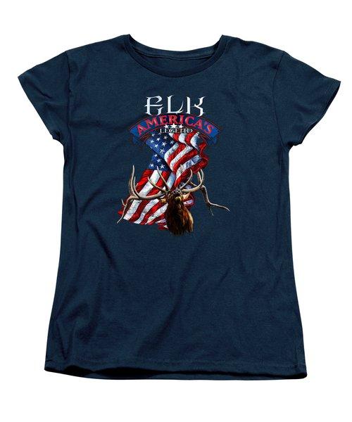 Elk America's Legend V2 Women's T-Shirt (Standard Cut) by Rob Corsetti