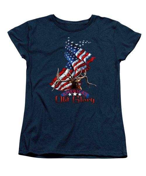 Elk Old Glory Women's T-Shirt (Standard Cut) by Rob Corsetti
