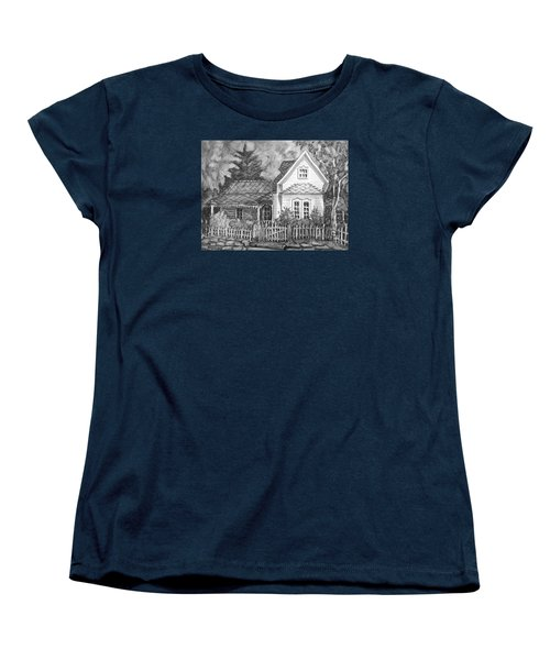 Women's T-Shirt (Standard Cut) featuring the painting Elma's House In Bw by Gretchen Allen