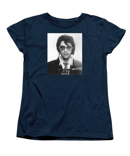 Elvis Presley Mug Shot Vertical Women's T-Shirt (Standard Cut) by Tony Rubino