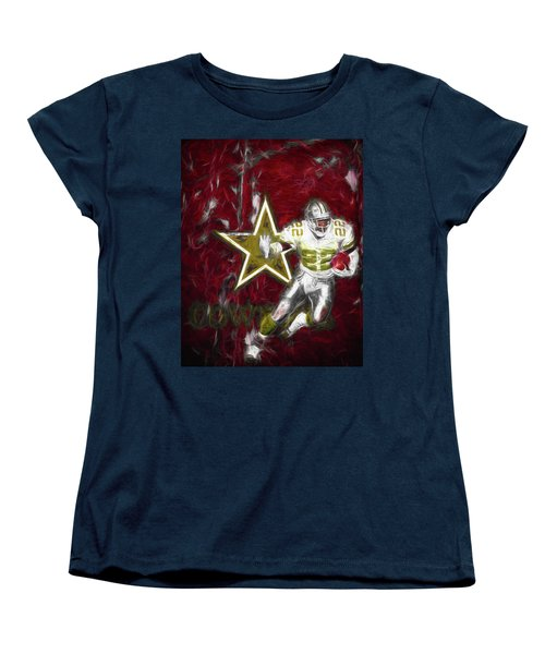 Emmitt Smith Nfl Dallas Cowboys Gold Digital Painting 22 Women's T-Shirt (Standard Cut) by David Haskett