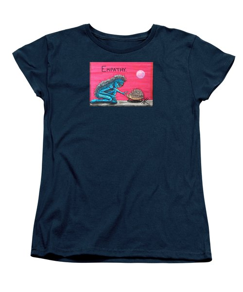 Women's T-Shirt (Standard Cut) featuring the painting Empathetic Alien by Similar Alien