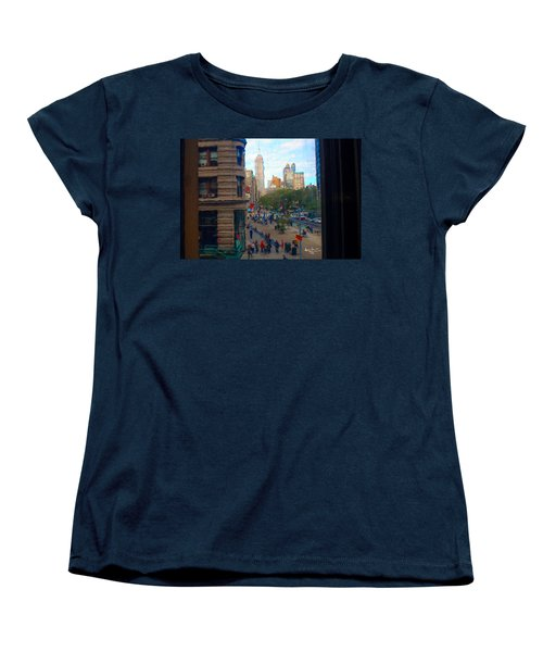 Women's T-Shirt (Standard Cut) featuring the photograph Empire State Building - Crackled View 2 by Madeline Ellis