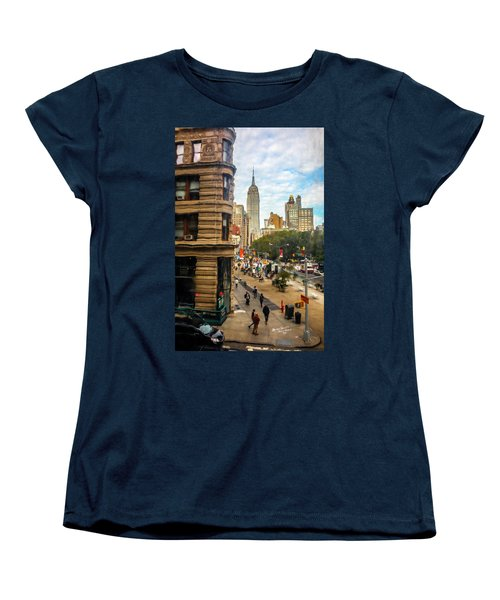 Women's T-Shirt (Standard Cut) featuring the photograph Empire State Building - Crackled View 3 by Madeline Ellis