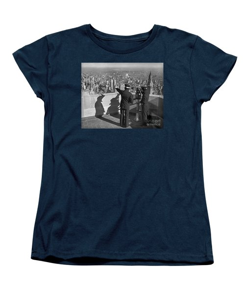Women's T-Shirt (Standard Cut) featuring the photograph Empire State Lookout 1947 by Martin Konopacki Restoration
