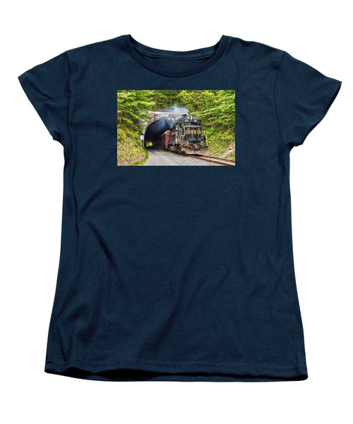 Engine 501 Coming Through The Brush Tunnel Women's T-Shirt (Standard Cut) by Jeannette Hunt