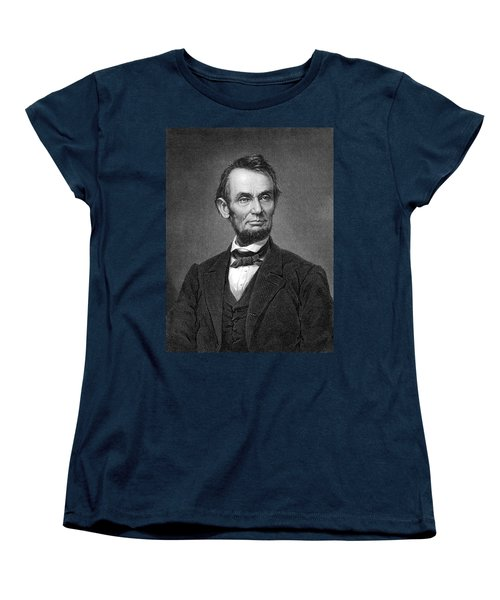 Engraving Of Portrait Of Abraham Lincoln From Brady Photograph Women's T-Shirt (Standard Cut) by Phil Cardamone