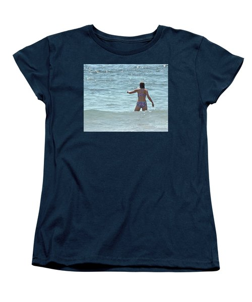 Women's T-Shirt (Standard Cut) featuring the photograph Entering Waves Of Pacific Ocean by Yurix Sardinelly