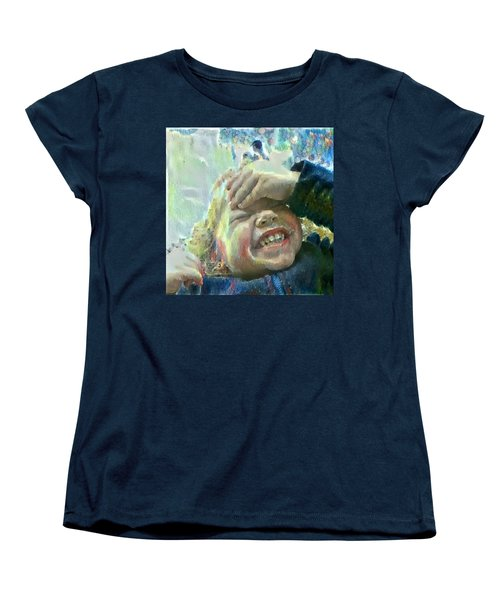 Women's T-Shirt (Standard Cut) featuring the painting Esther, What Is So Funny? by MendyZ