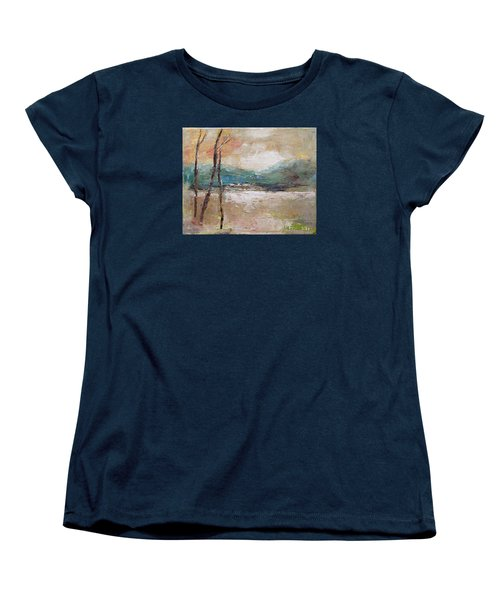 Women's T-Shirt (Standard Cut) featuring the painting Evening In Fall by Becky Kim