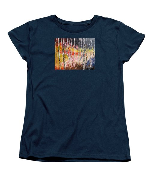 Evening In The Woods Pallet Knife Painting Women's T-Shirt (Standard Cut) by Lisa Boyd