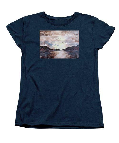 Women's T-Shirt (Standard Cut) featuring the painting Evening Light by Geni Gorani