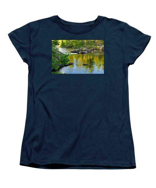 Evening Reflections At Lower Basswood Falls Women's T-Shirt (Standard Cut) by Larry Ricker
