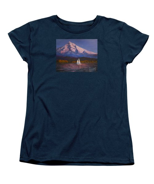 Women's T-Shirt (Standard Cut) featuring the painting Evening Sail by Jeanette French