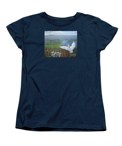Everglades Egret Women's T-Shirt (Standard Cut) by Anne Marie Brown
