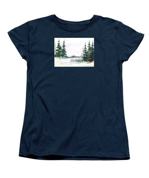 Women's T-Shirt (Standard Cut) featuring the painting Evergreens In Snow by Dorothy Maier
