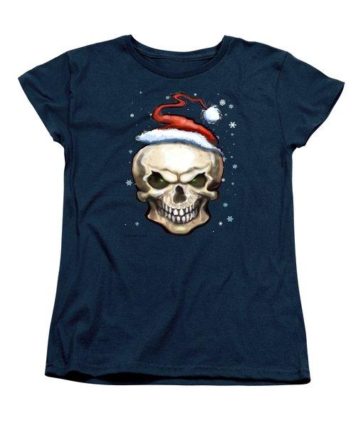 Evil Christmas Skull Women's T-Shirt (Standard Cut) by Kevin Middleton
