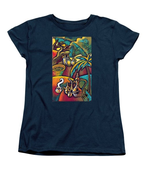 Women's T-Shirt (Standard Cut) featuring the painting Exotic East, Coffee And Olive Oil by Leon Zernitsky