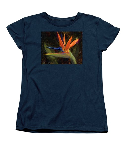 Women's T-Shirt (Standard Cut) featuring the painting Extravagance - Tropical Bird Of Paradise Flower by Karen Whitworth