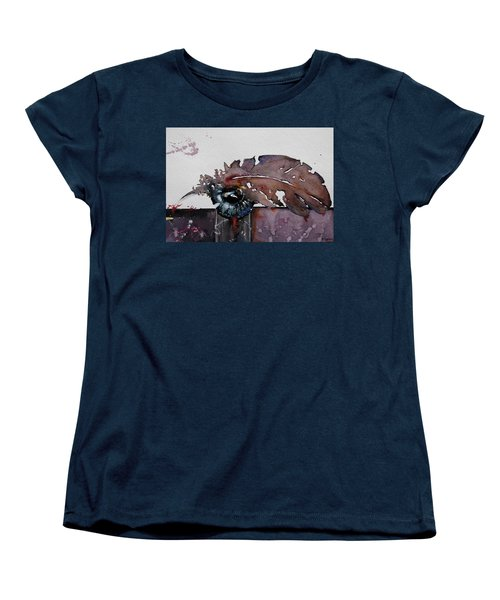 Women's T-Shirt (Standard Cut) featuring the painting Eye Feather by Geni Gorani