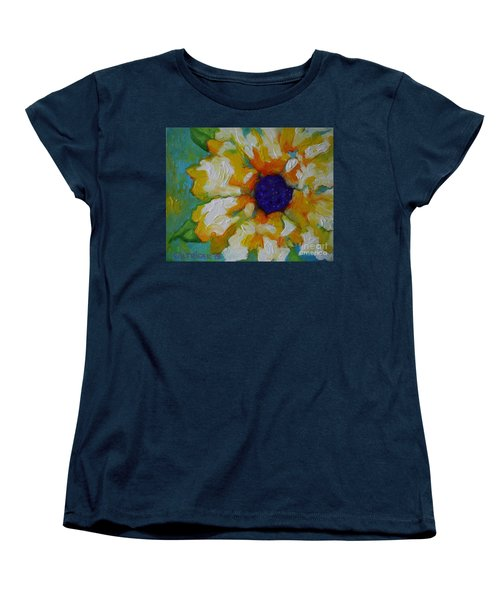 Women's T-Shirt (Standard Cut) featuring the painting Eye Of The Flower by Alison Caltrider
