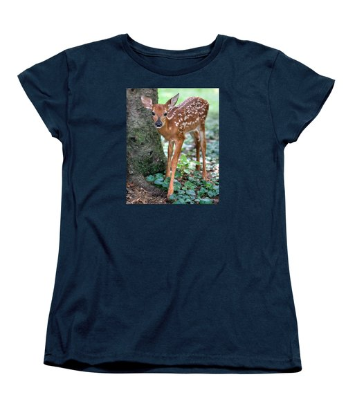 Women's T-Shirt (Standard Cut) featuring the photograph Eye To Eye With A Wide - Eyed Fawn by Gene Walls