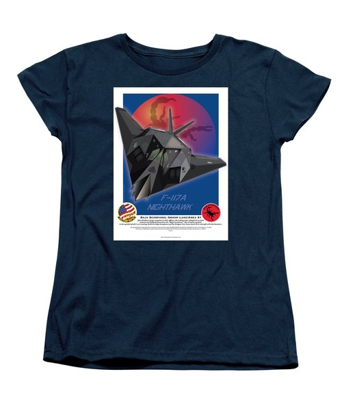 Women's T-Shirt (Standard Cut) featuring the drawing F117a Nighthawk by Kenneth De Tore