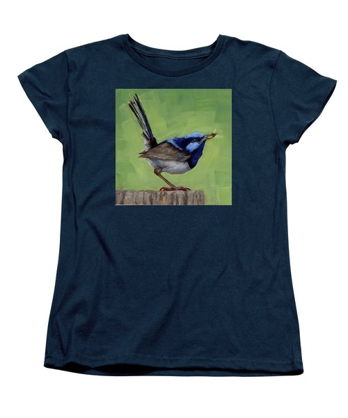 Women's T-Shirt (Standard Cut) featuring the painting Fairy Wren With Lunch  by Margaret Stockdale