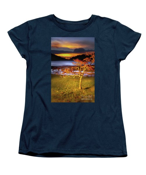 Women's T-Shirt (Standard Cut) featuring the painting Fall Colors At Sunrise In Otter Blue Ridge Ap by Dan Carmichael
