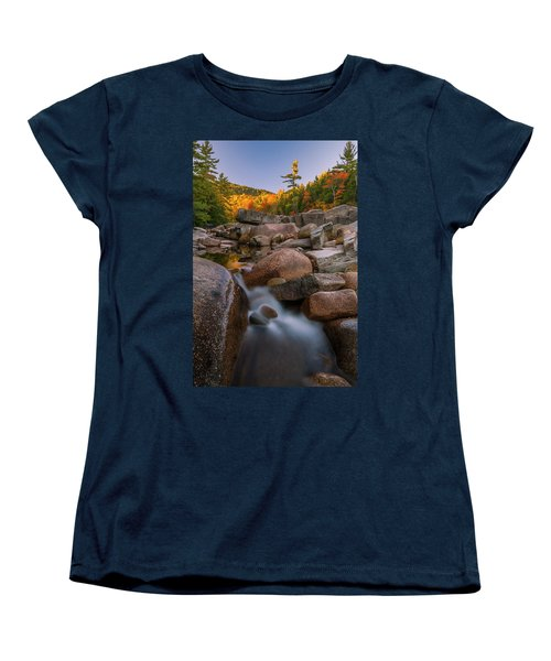 Women's T-Shirt (Standard Cut) featuring the photograph Fall Foliage In New Hampshire Swift River by Ranjay Mitra