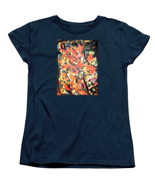 Fall Forest In Red And Black Women's T-Shirt (Standard Cut) by Esther Newman-Cohen