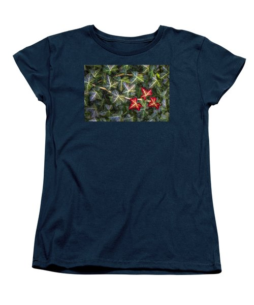Women's T-Shirt (Standard Cut) featuring the photograph Fall Ivy Leaves by Adam Romanowicz
