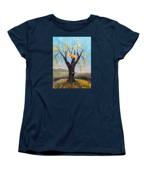 Women's T-Shirt (Standard Cut) featuring the painting Fall Tree In Virginia by Becky Kim