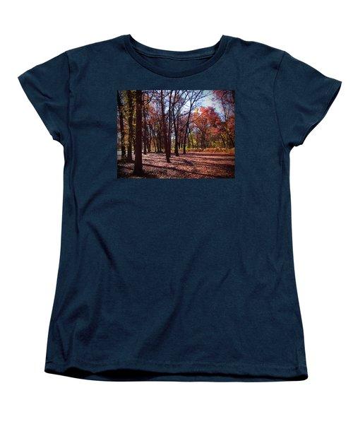 Fall Tree Shadows 2 Women's T-Shirt (Standard Cut) by Cedric Hampton