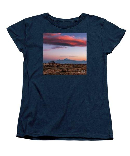 Famous Ararat Mountain During Beautiful Sunset As Seen From Armenia Women's T-Shirt (Standard Cut) by Gurgen Bakhshetsyan