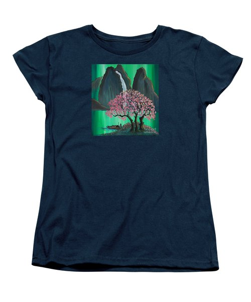Women's T-Shirt (Standard Cut) featuring the painting Fantasy Japan by Jacqueline Athmann